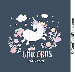 Unicorn with fowers in the night sky.