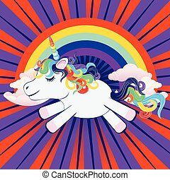 Unicorn with rainbow