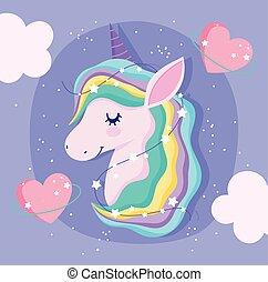 unicorn with rainbow hair love hearts clouds fantasy cartoon