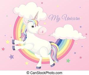Unicorn with Rainbow on Pink Background