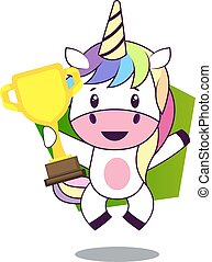 Unicorn with trophy, illustration, vector on white background.