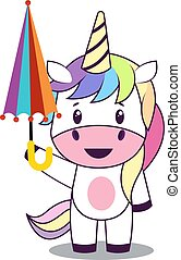 Unicorn with umbrella, illustration, vector on white background.