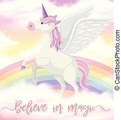 Unicorn with wings on rainbow sky