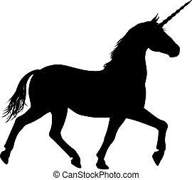 unicornio, caballo, silueta