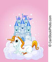 unicornio, cielo, castillo
