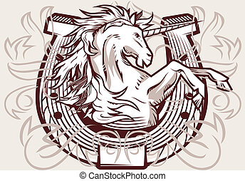 unicornio, cresta, herradura