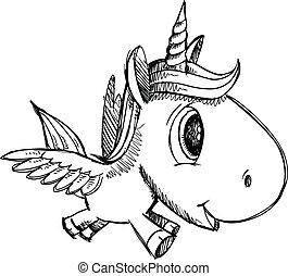 unicornio, pegasus, garabato, bosquejo