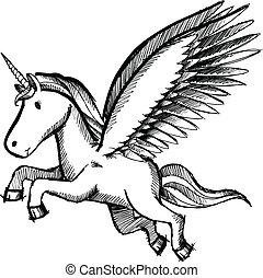 unicornio, pegasus, vector, bosquejo