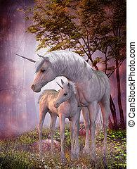 unicornio, yegua, potro