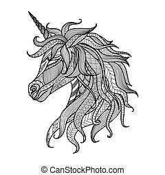 unicornio, zentangle