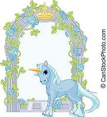 unicorno, chiudere, a, fiore, cornice