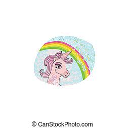 unicorno, con, uno, arcobaleno, vettore