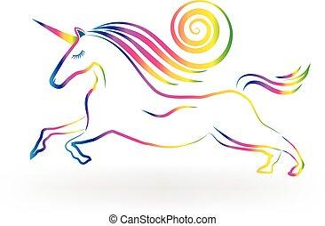 unicorno, logotipo, arcobaleno, tatuaggio