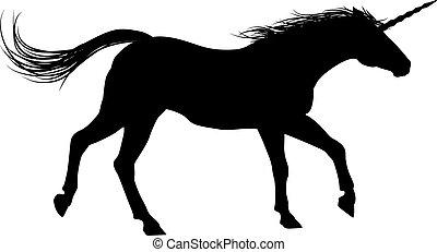unicorno, silhouette, correndo