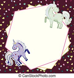 Unicorns in pastel colors on the background of hearts. Vector graphics. Abstract frame on a Burgundy background. Illustration for Valentine s Day.