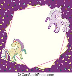 Unicorns in pastel colors on the background of hearts. Vector graphics. Abstract frame on lilac background. Illustration for Valentine s Day.