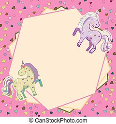 Unicorns in pastel colors on the background of hearts. Vector graphics. Frame. Illustration for Valentine s Day.