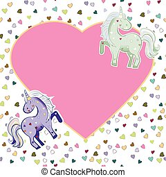 Unicorns in pastel colors on the background of hearts. Vector graphics. Heart-shaped pink frame. Illustration for Valentine s Day.