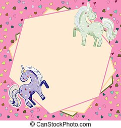 Unicorns in pastel colors on the background of hearts. Vector graphics. Polygonal frame. Illustration for Valentine s Day.