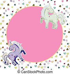 Unicorns in pastel colors on the background of hearts. Vector graphics. Round pink frame. Illustration for Valentine s Day.