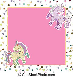 Unicorns in pastel colors on the background of hearts. Vector graphics. Square pink frame. Illustration for Valentine s Day.