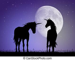 unicorns in the moonlight