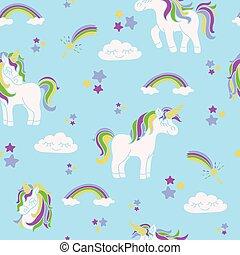 Unicorns on the blue seamless pattern
