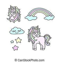 Unicorns, rainbow, clouds, stars magic vector set