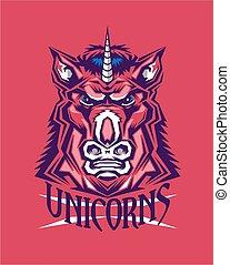 unicorns team sports mascot design for school, college or ...