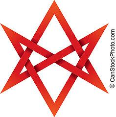 unicursal, hexagram, rojo, 3d