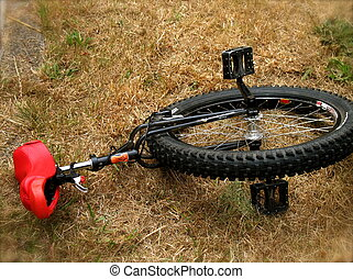 Unicycle - A unicycle with red seat at rest