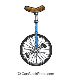 Unicycle bicycle sketch engraving vector illustration. T-shirt apparel print design. Scratch board style imitation. Hand drawn image.