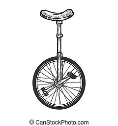Unicycle bicycle sketch engraving vector illustration. Tee shirt apparel print design. Scratch board style imitation. Hand drawn image.