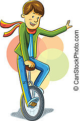 Unicycle Boy - cartoon illustration of young boy riding...