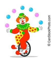 unicycle, clown, zirkus, lustiges, kugeln, jonglieren