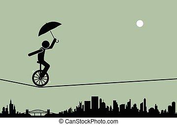 unicycle, cuerda de equilibrista, alambre