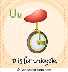 Unicycle - Flashcard letter U is for unicycle