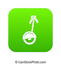 Unicycle icon digital green for any design isolated on white...