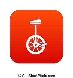 Unicycle icon digital red for any design isolated on white...