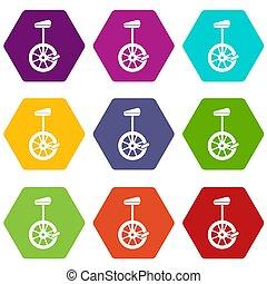 Unicycle icon set color hexahedron - Unicycle icon set many...