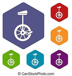 Unicycle icons set