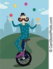 Unicycle juggler - A cartoon image of a unicycler juggling...