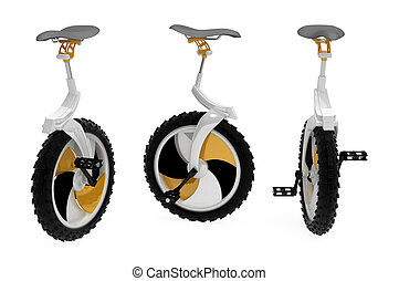 Unicycle - Modern 3d unicycle model, over white, isolated