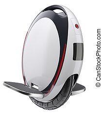 Unicycle (monowheel balance vehicle) isolated on white...