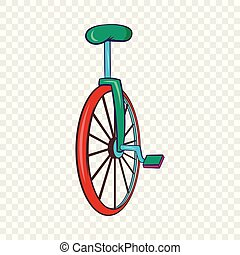 Unicycle or one wheel bicycle icon, cartoon style