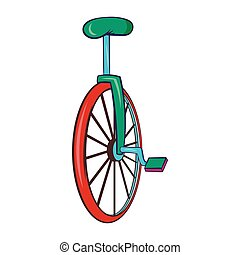 Unicycle or one wheel bicycle icon, cartoon style - Unicycle...