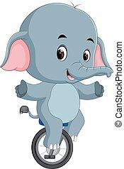 unicycle, schattig, elefant, paardrijden