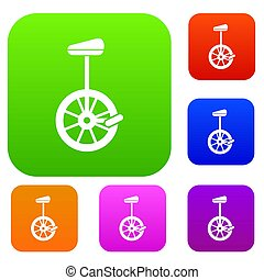 Unicycle set collection - Unicycle set icon in different...