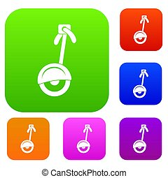 Unicycle set color collection - Unicycle set icon color in...