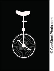 unicycle silhouette  - unicycle in white silhouette